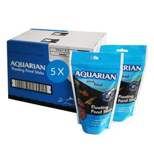 AQUARIAN Complete Nutrition Pond Fish Floating Sticks 210 g, Pack of 5 (Total 1 kg) now £9.14 (Prime) + £4.49 (non Prime) at Amazon