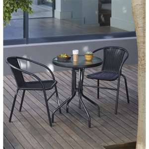 Alfresca Rattan Bistro Set - Black £31.50 at Homebase (Free C&C)