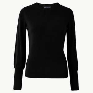 M&S Collection Women's Round Neck Jumper Black / Blue £5 @ Marks & Spencer