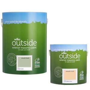 Various Wilko 'Outside' Masonry Paints - 2.5L £8 / 5L £12 @ Wilko - Free C&C