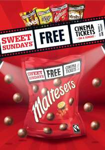 £2 big bags of Minstrels, Maltesers, etc @ Tesco - Cinema tickets £4 with Sweet Sunday