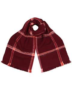 Wine Checked Scarf £6 @ Oliver Bonas (free C&C over £20 or £2.95 delivery)