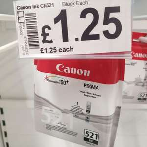 Canon CLI-521BK Black Ink Cartridge £1.25 instore @ Asda