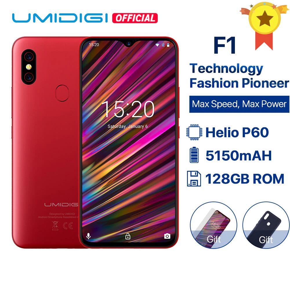 "UMIDIGI F1 Android 9.0 6.3"" FHD+ 128GB ROM 4GB RAM Helio P60 5150mAh Battery 18W Fast Charge Smartphone 16MP+8MP £139.64 AliExpress UMIDIGI"
