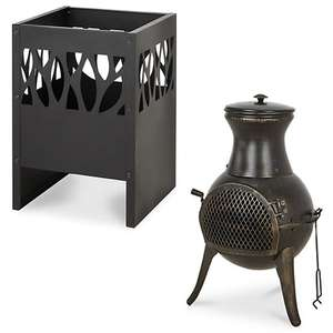 Blooma Anabar Steel Firepit £18.40 / Blooma Diogo Cast iron & steel Chiminea £29.60 - Discounts at Basket @ B&Q