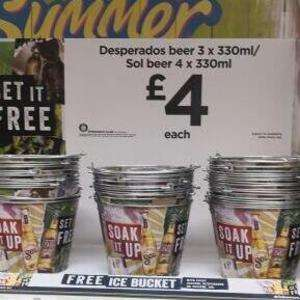 Free Ice Bucket With  4 pack bottle Sol or 3 pack bottle of Desperados Purchase -  £4  At Asda.