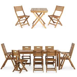 Garden Furniture - 20% off at Checkout - EG Wooden 2 Seater Bistro Set £24 / 8 Seater Set - 2 Recliner & 6 Standard Chairs £272 @ B&Q