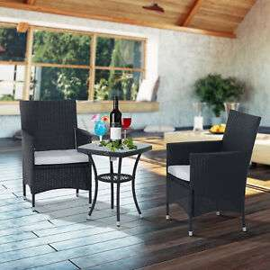 Outsunny Rattan Bistro Set Garden Chair Table Patio Outdoor Cushion Conservatory - £79 @ Outsunny eBay