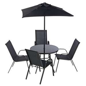 Argos Home Sicily 4 Seater Metal Patio Set / Glass Top Table / 4 Chairs / Parasol - £97.49 @ Argos - Free C&C