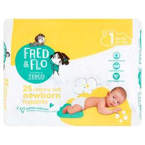 Fred & Flo Newborn Nappy pack Size 1 - 25 Pack @ Tesco 92p