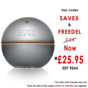 Boss In Motion 90ml £25.95 use code SAVE5 and for free delivery use code FREEDEL @ BeautyBase