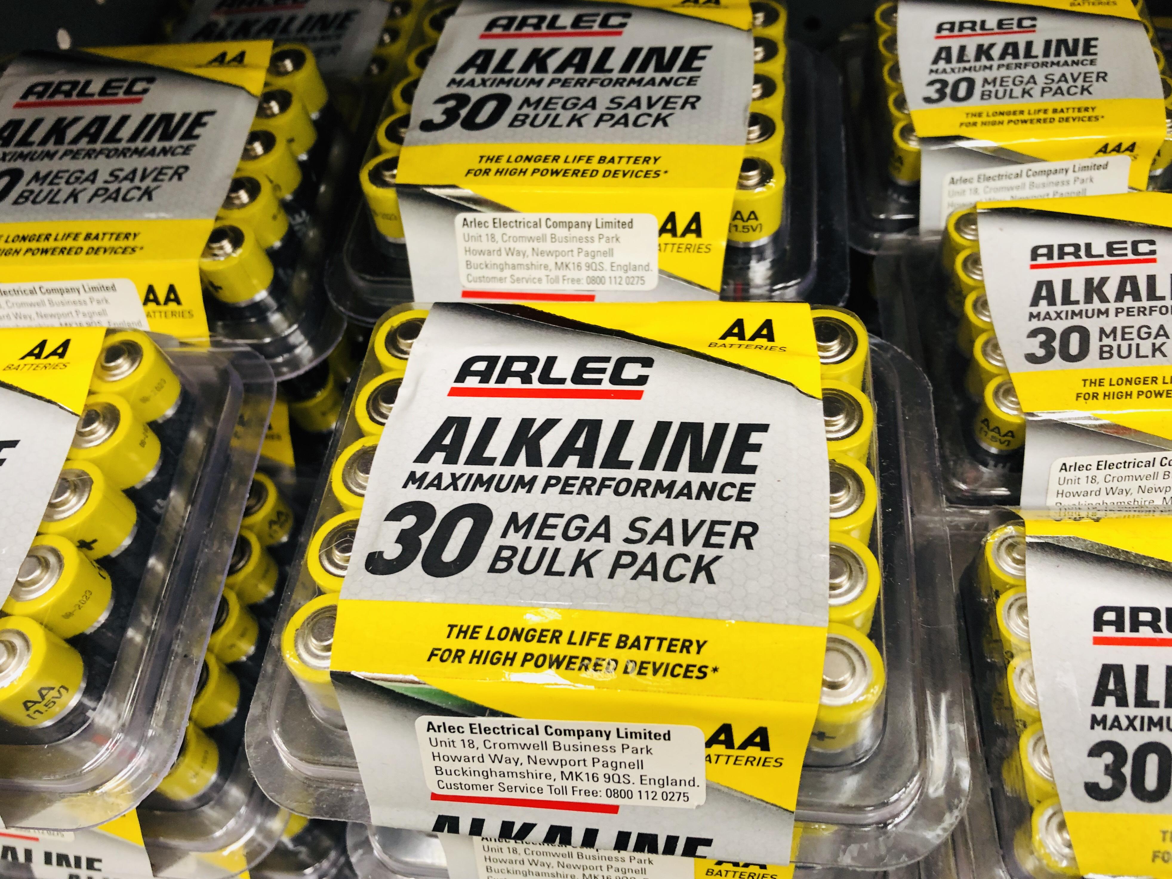 30PK AA or AAA Arlen Alkaline Batteries - £2.10 at Homebase Truro