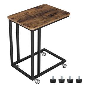 VASAGLE Industrial Side End Table, Easy to Assemble, with Metal Frame and Rolling Castors Rustic Brown £16.19 @ Amazon
