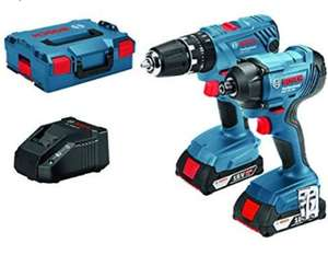 Bosch Professional GSB 18 V-21 + GDR 18 V-160 Combi and Impact Driver, 2 x 2Ah Batteries, charger & L-Boxx £168 delivered @ Amazon