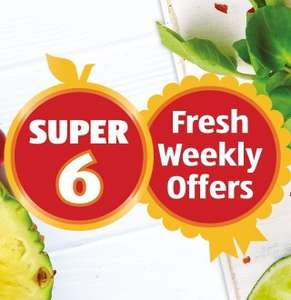 Aldi Super 6 From 18/7 Grapefruit 39p each, Nectarins 4 pack, 49p, Mini Bananas, 7 pack, 69p, Unwashed Spinach, 450g 69p. Limes 5 pack, 69p