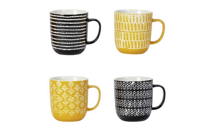 Argos Home Global Monochrome Set of 4 Wax Resist Mugs - £4.20 @ Argos (Free C&C)