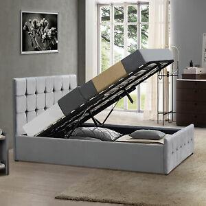 Valentina Double Ottoman Bed Frame 4FT6 Storage Lift Fabric Light Grey Velvet £167.96 @ ebay / homediscountltd