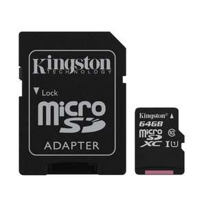 Kingston Canvas Select (SDCS/64GB) MicroSDClass 10 UHS-I (SD Adapter Included) £7.78 Dispatched from and sold by Kikatek