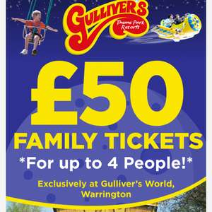 Gulivers World. Family Tickets for up to 4 People - £50