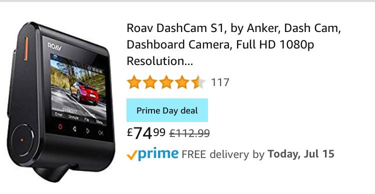 Roav DashCam S1 Full HD 1080p 60fps NightHawk Vision - Amazon Prime Day £74.99