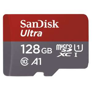 SanDisk Ultra 128 GB microSDXC Memory Card A1 App Performance Up to 100 MB/s for £47.99 / 128 GB for £14.49 / 64GB £8.49 Amazon Prime Excl