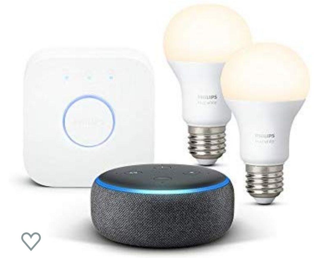 Echo Dot (3rd Gen), Charcoal Fabric + Philips Hue White Smart Light Starter Kit E27 £51.99 @ Amazon
