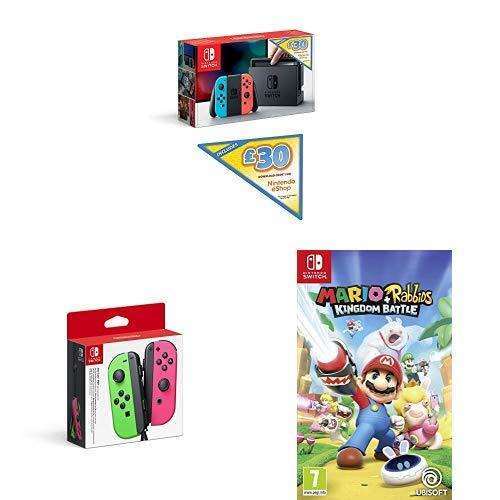 Nintendo Switch + Mario & Rabbids + Neon Joy-Con + £30 EShop Voucher £289.99 Amazon Prime Only