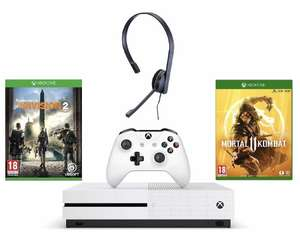 Xbox One S 1TB Division 2 Bundle + Mortal Kombat 11 + Chat Headset £199.99 from Amazon for Prime members