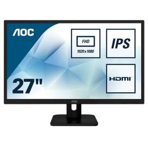 "AOC 27E1H 27"" Widescreen IPS LED Black Monitor (1920x1080/5ms/VGA/HDMI) - £94.99 delivered Amazon Prime Excl"