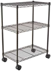 Amazon Basics 3-Shelf Shelving Unit on Wheels – Black - £17 / Chrome - £17.65 @ Amazon (Prime Exclusive)