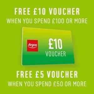 Free £5 Voucher when spend £50 or more / Free £10 Voucher when spend £100 or more @ Argos