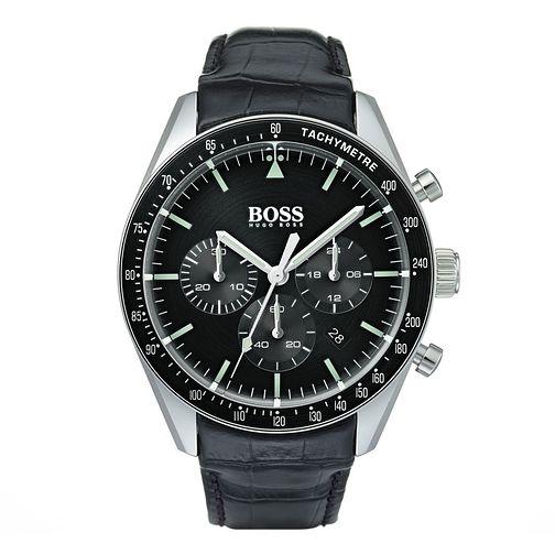 BOSS Trophy Men's Black Leather Strap Watch £149.50 with code @ Ernest jones