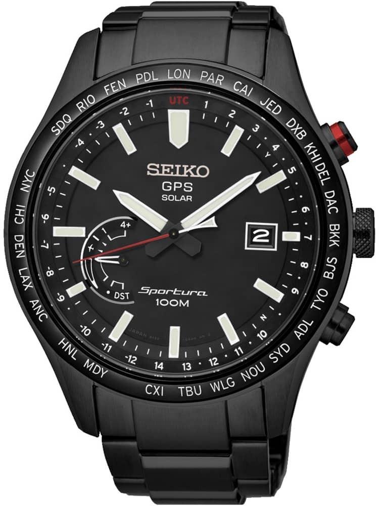 SEIKO Mens Sportura Solar GPS Black Bracelet Watch SSF005J1 £399 TH Baker
