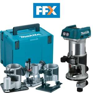 Makita DRT50ZJX3 18v LXT Li-ion Brushless Router/Trimmer with Extra Bases £191.20 at FFX / Ebay