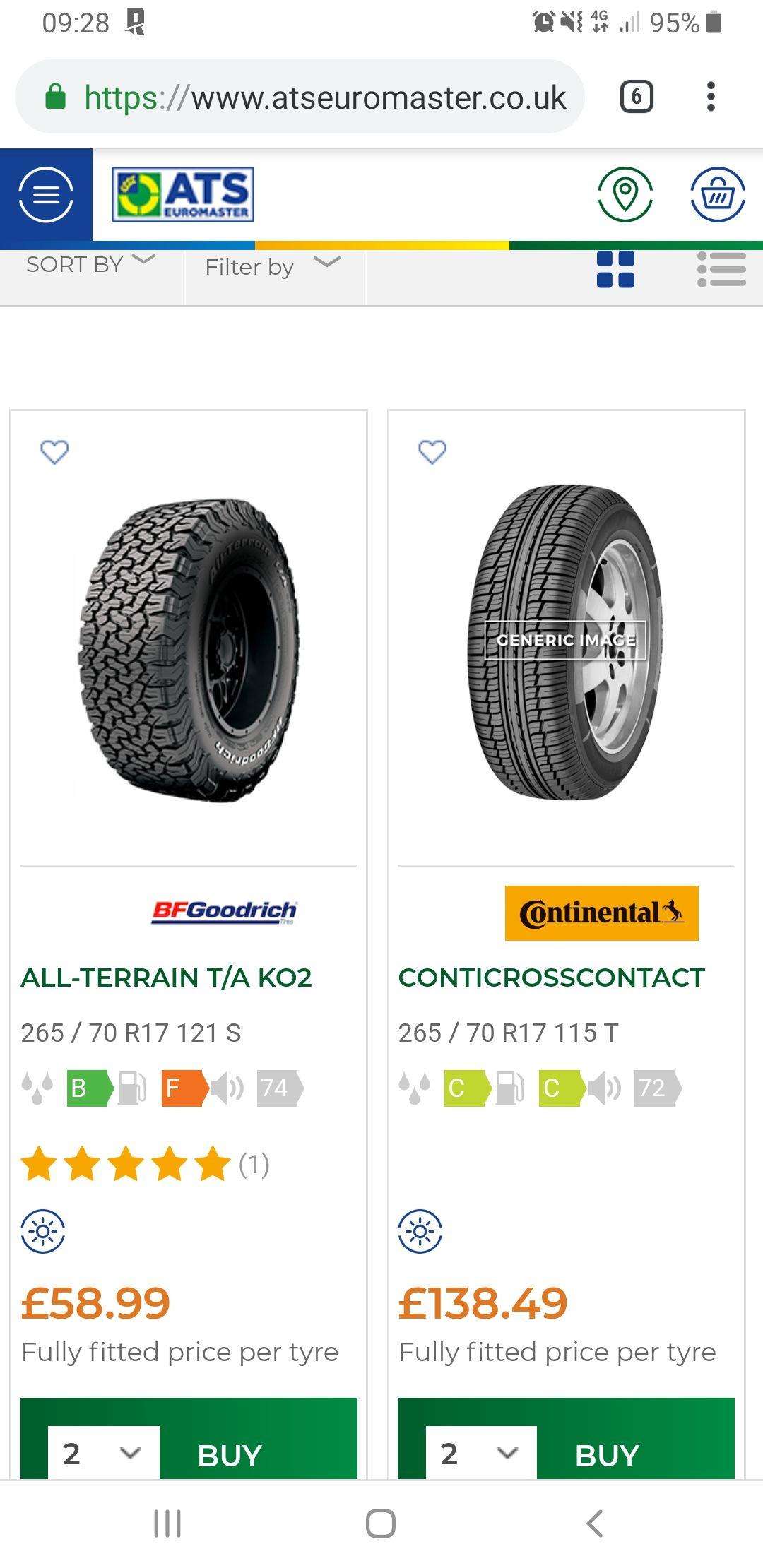 Bfg ALL-TERRAIN T/A KO2 265 70 17 Tyres - £58.98 at ATS Euromaster