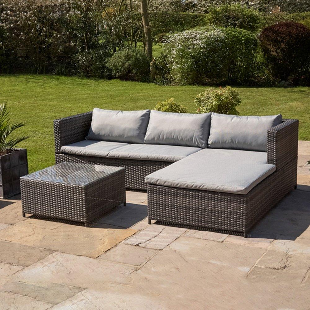 Kingfisher RSET1 KD Rattan Sofa Set - Grey (3-Piece) - £219.99 @ Amazon Prime Day