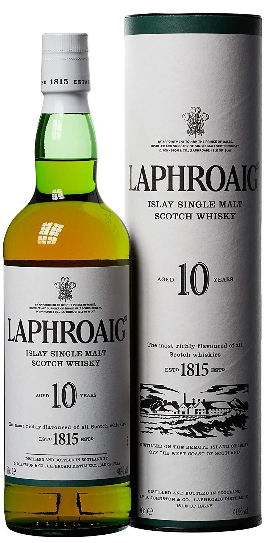 The no. 1 Peated Malt - Laphroaig  10 Year Old Islay Single Malt Scotch Whisky, 70 cl £28 Amazon