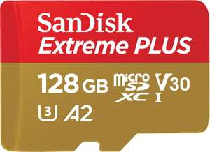 SanDisk Extreme PLUS 128 GB microSDXC Memory Card + SD Adapter with A2 App Performance, 170 MB/s for £24.59 Prime Excl. Delivered @ Amazon