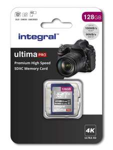 Integral 128GB SD card Premium Ultima Pro 4K High Speed memory SDXC Up to 100MB/s V30 UHS-I U3 for £14.99 Prime Excl. @ Amazon UK