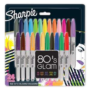 Sharpie Fine Permanent Marker 80's glam, Assorted Colours, Pack of 24 for Prime Members
