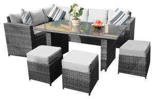 YAKOE Conservatory 9 Seater Outdoor Rattan Garden Furniture Classical Corner Dining Set with Rain Cover - Grey £339 Amazon Prime Day