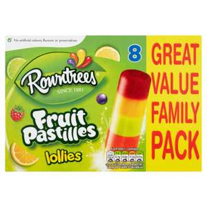 Rowntrees Fruit Pastilles Lollies 8 x 65ml £1.50 / Free Sweets inc Maltesers, Haribo, Skittles with code @ Iceland