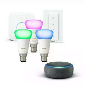 Philips Hue White and Colour Ambiance B22 Starter (3 x bulbs + Hue Bridge + Dimmer Switch) + Echo Dot 3rd Gen £87 with code @ AO