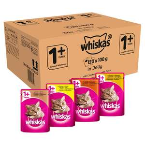Whiskas 1+ Wet Cat Food for Adult Cats, Poultry Selection in Jelly, 120 Pouches (120 x 100 g) - £19.99 Prime Exclusive @ Amazon