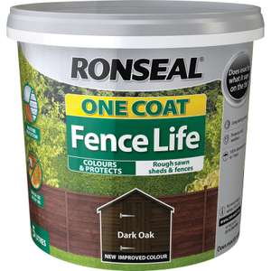 Ronseal One Coat Fence Life [5L Dark Oak] £4 @ Toolstation