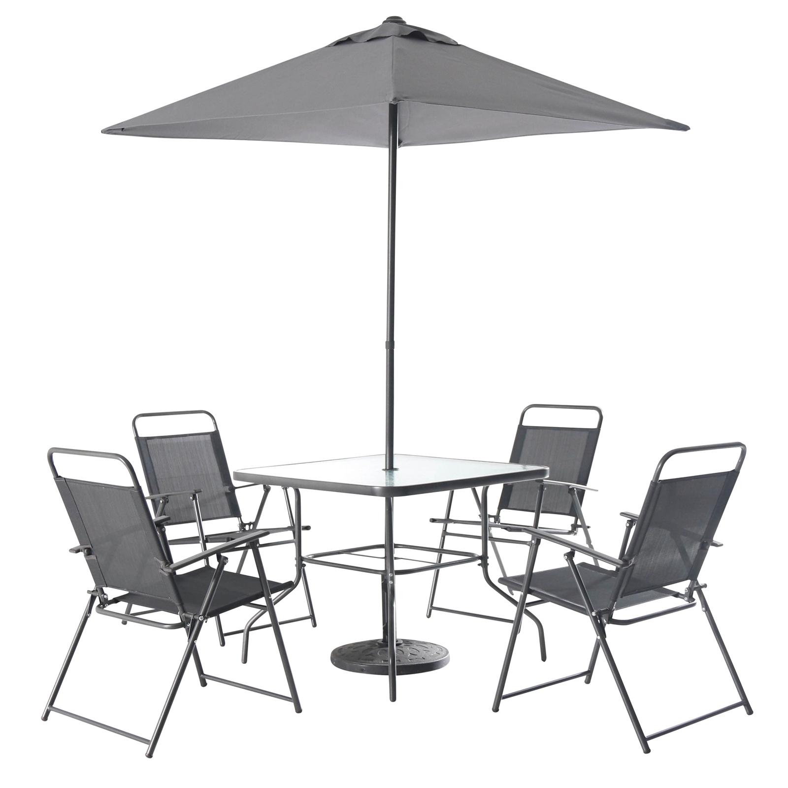 Quebec Steel 4 Seater Square Garden Furniture Set - Dark Grey for £58.50 Free C&C @ HomeBase