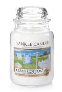 Yankee Candle Large Jar Scented Candle, Clean Cotton, Up to 150 Hours Burn Time - £14.99 @ Amazon Prime Day Exclusive