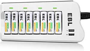 EBL Upgraded 8 Bays AA AAA Battery Charger with USB Ports and 8 Pack 2800mAh AA Batteries - sold by EBL Official FBA (Amazon Prime)