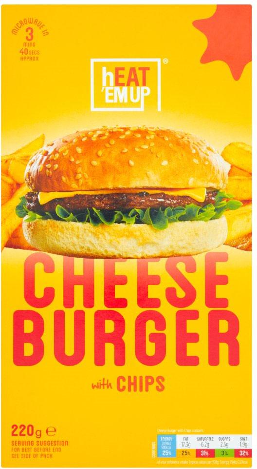 Heat Em Up-Tesco Cheese Burger & Chips 215G £1 @ Tesco