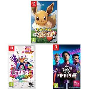 Nintendo Switch 3 Game Bundle: Pokemon: Let's Go Eevee! + Just Dance 2019 + FIFA 19 £64.99 from Amazon for Prime members